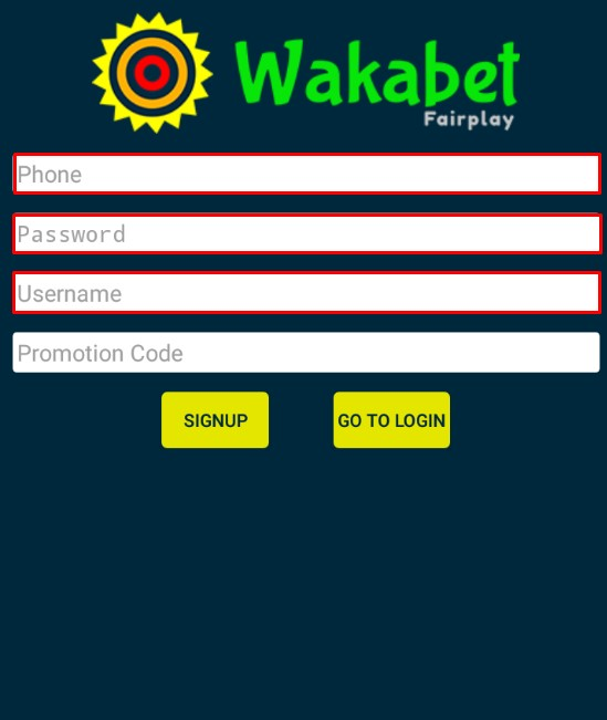wakabet app registraion