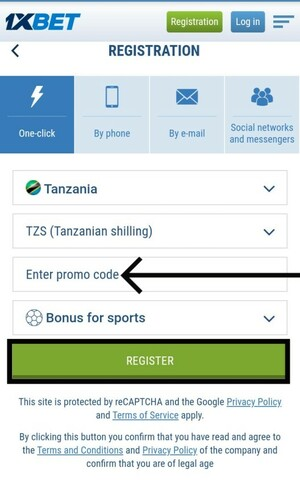 1xbet registration by one click