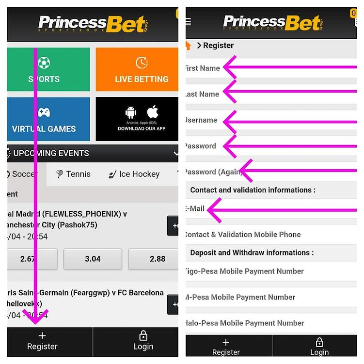 princessbet registration